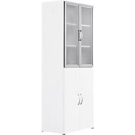 Armario combinado PALENQUE, 6 AA, puertas de vidrio/madera, An 800 x P 420 x Al 2160mm, blanco