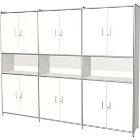 Armario combinado Toledo, con panel trasero, con cerradura, 2 cajones, 5 AA, An 2360 x P 380mm, blanco