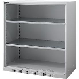 Armario con estantes FS, de chapa de acero, con orificios de ventilación, ancho 1055 x fondo 520 x alto 1105 mm, 3 OH, aluminio blanco, hasta 300 kg