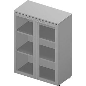 Armario con puertas de vidrio ARLON OFFICE, 3 alturas de archivo, puertas con marco, An 900mm, gris luminoso/aluminio