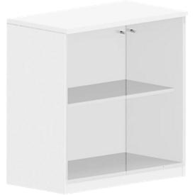 Armario con puertas de vidrio BEXXSTAR, 2 alturas de archivo, An 800 x P 420mm, blanco