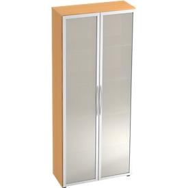 Armario con puertas de vidrio TARA, 5 alturas de archivo, An 800 x P 346 x Al 1880mm, acabado en haya