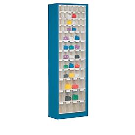Armario de almacenamiento, volumen 333 l, 61 cajas de almacenamiento extraíbles con asa empotrada, ancho 665 x fondo 250 x alto 2000 mm, g.azul/transp.