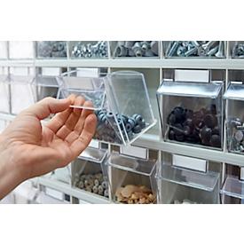Armario de almacenamiento, volumen 635 l, 204 cajas de almacenamiento extraíbles con asa empotrada, ancho 1270 x fondo 250 x alto 2000 mm, l.gris/transparente