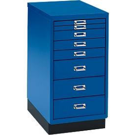 Armario de cajones DIN A4, con 8 cajones, 675mm de alto, azul genciana