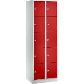 Armario de casilleros para objetos de valor 300mm, 2 compartimentos, 10 compartimentos, cerradura de cilindro de seguridad, zócalo, rojo vivo