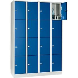 Armario de casilleros para objetos de valor 300mm, 4 compartimentos, 16 compartimentos, cerradura de cilindro de seguridad, zócalo, azul genciana