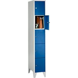 Armario de casilleros para objetos de valor, con patas, 5 compartimentos, anchura de los compartimentos 300mm, cerradura de cilindro de seguridad, azul genciana