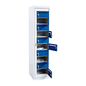 Armario de distribución de correo, altura 1800mm, gris luminoso RAL 7035/azul genciana 5010