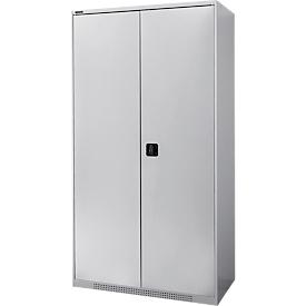 Armario de doble puerta FS, de chapa de acero, con orificios de ventilación, ancho 1055 x fondo 520 x alto 1950 mm, 5 OH, aluminio blanco/aluminio blanco, hasta 500 kg