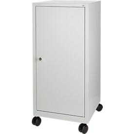 Armario de herramientas con ruedas, puerta batiente, 2 estantes, 1 cajón, An 500 x P 500 x Al 1000mm, con cerradura, gris luminoso