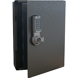 Armario de llaves, cerradura electrónica, 141 ganchos, plata efecto martillado