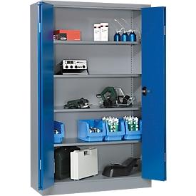Armario de material Schäfer Shop Select MSI 2409, sin cajas, aluminio blanco/azul marino