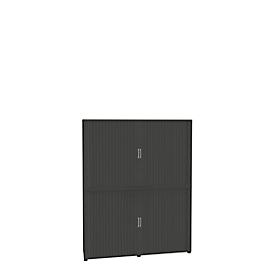 Armario de persiana, 6 AA, de 2 piezas, con tabique central, An 1800mm, grafito