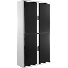 Armario de persiana Paperflow easyOffice, negro-blanco, con 4 estantes, An 1100 x P 415 x Al 2040mm