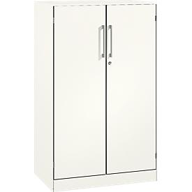 Armario de puertas batientes ASISTO C 3000, 3 alturas de archivo, An 800mm, blanco/blanco
