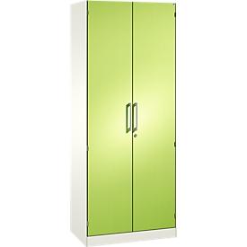 Armario de puertas batientes ASISTO C 3000, 5 alturas de archivo, con cara frontal insonorizante, An 800mm, blanco/verde pistacho