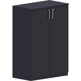 Armario de puertas batientes BEXXSTAR, 3 alturas de archivo, panel trasero, puertas de madera, Al 1155mm, negro