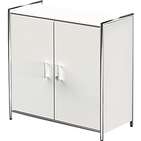 Armario de puertas batientes Toledo, con panel trasero, con cerradura, 2 AA, An 800 x P 380 x Al 780mm, blanco