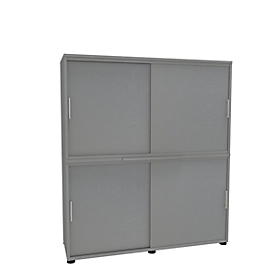 Armario de puertas correderas, An 1350mm, 4 AA, plata