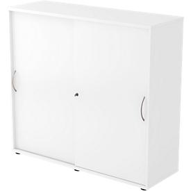 Armario de puertas correderas TARA, 3 alturas de archivo, An 1200 x P 400 x Al 1180mm, con cerradura, apilable, blanco