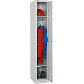 Armario de ropa, 1 compartimento, 1 puerta, 2 estantes, ancho 300 x fondo 457 x alto 1800 mm, chapa de acero de calidad, con cerradura