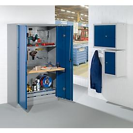 Armario de taller con puertas abatibles, ancho 1200 x fondo 500 x alto 1935 mm, aluminio blanco RAL 9006/azul benigno