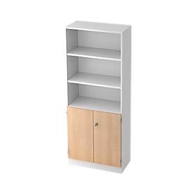 Armario estantería, An 800 x P 420 x Al 2004mm, 5 AA, 5 estantes, 2 puertas, con cerradura, blanco/roble
