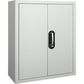 Armario estantería TOP FIX, 780mm de alto, 4 estantes, 22 cajas, con puertas, gris luminoso