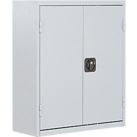 Armario estantería TOP FIX, 780mm de alto, 4 estantes, 24 cajas, con puertas, gris luminoso