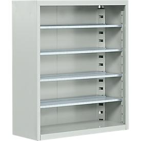 Armario estantería TOP FIX, 780mm de alto, 4 estantes, sin cajas, sin puertas, gris luminoso