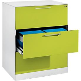 Armario para archivadores colgantes ASISTO C 3000, 3 cajones, 2 carriles, An 800mm, blanco/verde pistacho
