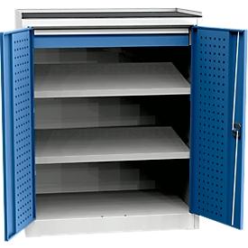 Armario para cargas pesadas, 2 estantes, 1 cajón, capacidad de carga por estante 40kg