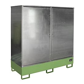 Armario para materiales peligrosos BAUER GS-2, chapa de acero, accesible con transpaleta, para 2 barriles de 200l, An 1680 x P 690 x Al 1780mm, verde
