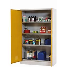 Armario para productos químicos asecos CF-CLASSIC, puertas batientes, frontal amarillo de seguridad, An 1200 x P 500 x Al 1950mm