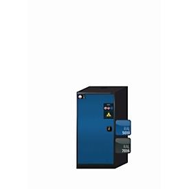 Armario para productos químicos asecos CS-CLASSIC, puerta batiente, bisagra a la izquierda, frontal azul genciana, An 545 x P 520 x Al 1105mm