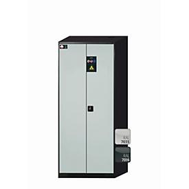 Armario para productos químicos asecos CS-CLASSIC, puertas batientes, frontal gris luminoso, An 810 x P 520 x Al 1950mm