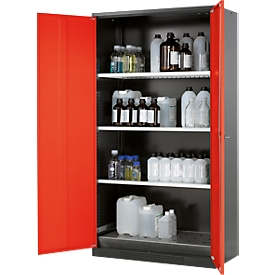 Armario para productos químicos asecos, puerta batiente, 3 estantes, 1055x520x1950mm, rojo tráfico