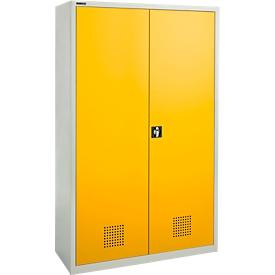 Armario para sustancias peligrosas Schäfer Shop Pure, puertas abatibles con cerradura de cilindro, frente amarillo dorado, ancho 1200 x fondo 500 x alto 1950 mm, 4 bandejas de goteo de 23 l