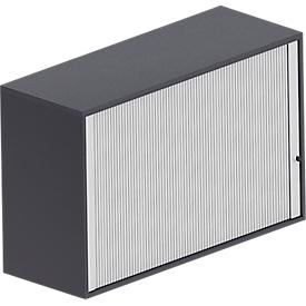 Armario superior de persiana transversal BEXXSTAR, 2 alturas de archivo, panel trasero, An 1200 x P 445 x Al 740mm, negro