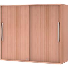 Armario superpuesto de puertas correderas BARI, 4 estantes, cerradura, tabique central, An 1200 x P 430 x Al 1057mm, acabado en haya