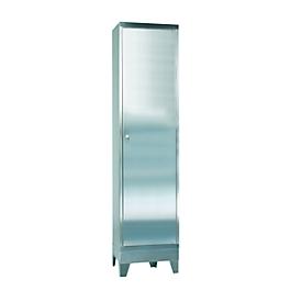 Armario vitrina de acero inoxidable, 1 puerta, con 4 patas, An 500 x P 400 x Al 2000mm