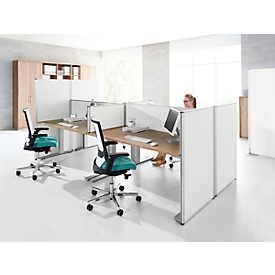 Auf-Tischtrennwand System 40, B 800 x H 400 mm, weiß