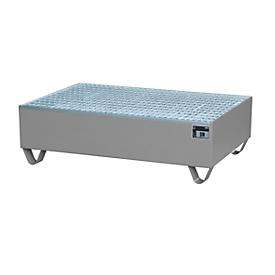 Auffangwanne, für 2 Fässer à 200 l, mit verzinktem Gitterrost, L 1200 x B 800 x H 360 mm, unterfahrbar, Stahl, mausgrau RAL 7005