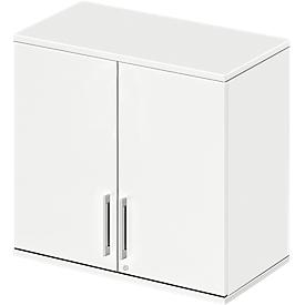 Aufsatzschrank LOGIN, 2 Ordnerhöhen, Griffe unten, B 800 x T 420 x H 726 mm, weiß/weiß