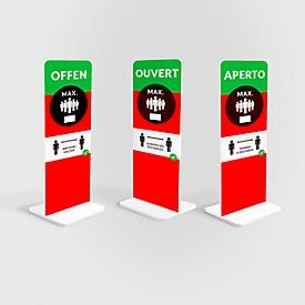 Aufsteller Abstand halten, rechteckig, Digitaldruck 1-seitig, Leichtschaumplatte, grün-rot-weiss-schwarz, in italienischer Sprache