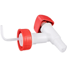 Auslaufhahn für Industriekanister 20 + 30 l, DIN 60/61, f. Chemikalien, Säuren & Laugen, Drehgriff, PE, weiß-rot