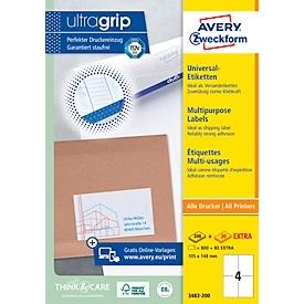 AVERY Zweckform 3483-200 Universal-Etiketten, ultragrip, 105 x 148 mm, DP INTERNETMARKE geeignet