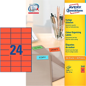 Avery Zweckform Etiketten 3448, 70 x 37 mm, 2400 Stück, rot