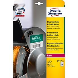 Avery Zweckform Folienetiketten L7911-10, ultra-resistent, H 45,7 x B 21,2 mm, 480 St